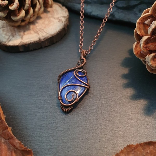 pendentif wire wrapping lapis lazuli