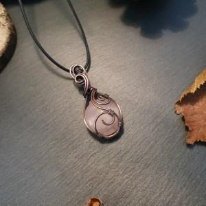 pendentif quartz rose wire wrapping
