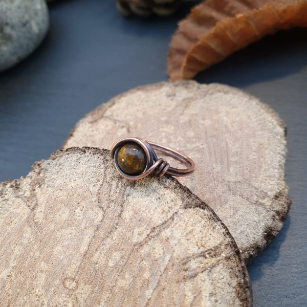 Bague wire wrapping oeil de tigre