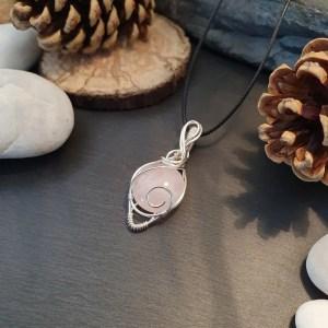 pendentif quartz rose cuivre argenté
