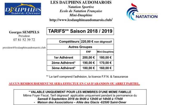 Tarifs saison 2018/2019, Les Dauphins Audomarois, Saint Omer