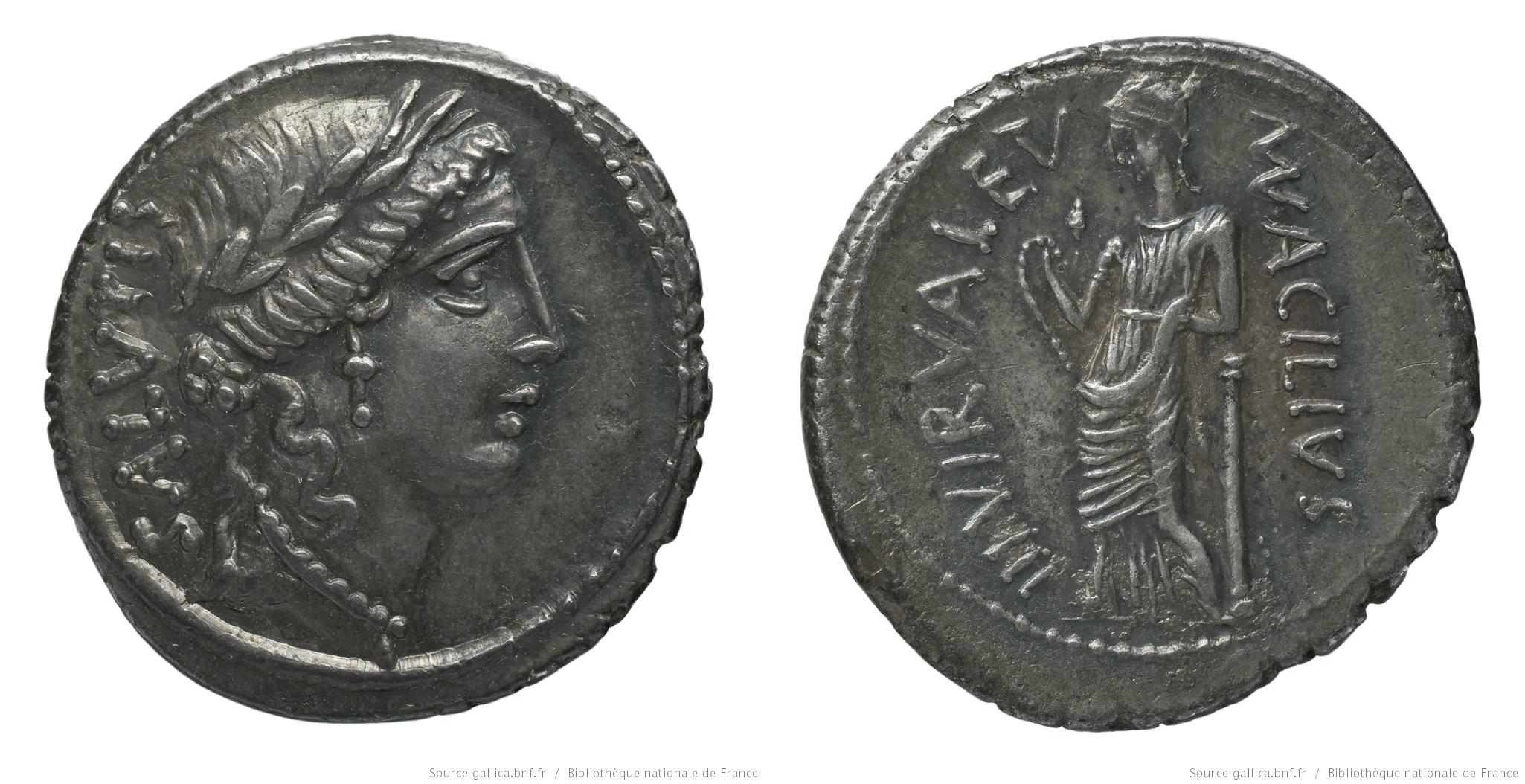 1422AC – Denier Acilia – Manius Acilius Glabrio