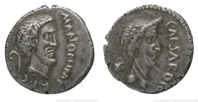 1563AN – Denier Marc Antoine et César – Marcus Antonius