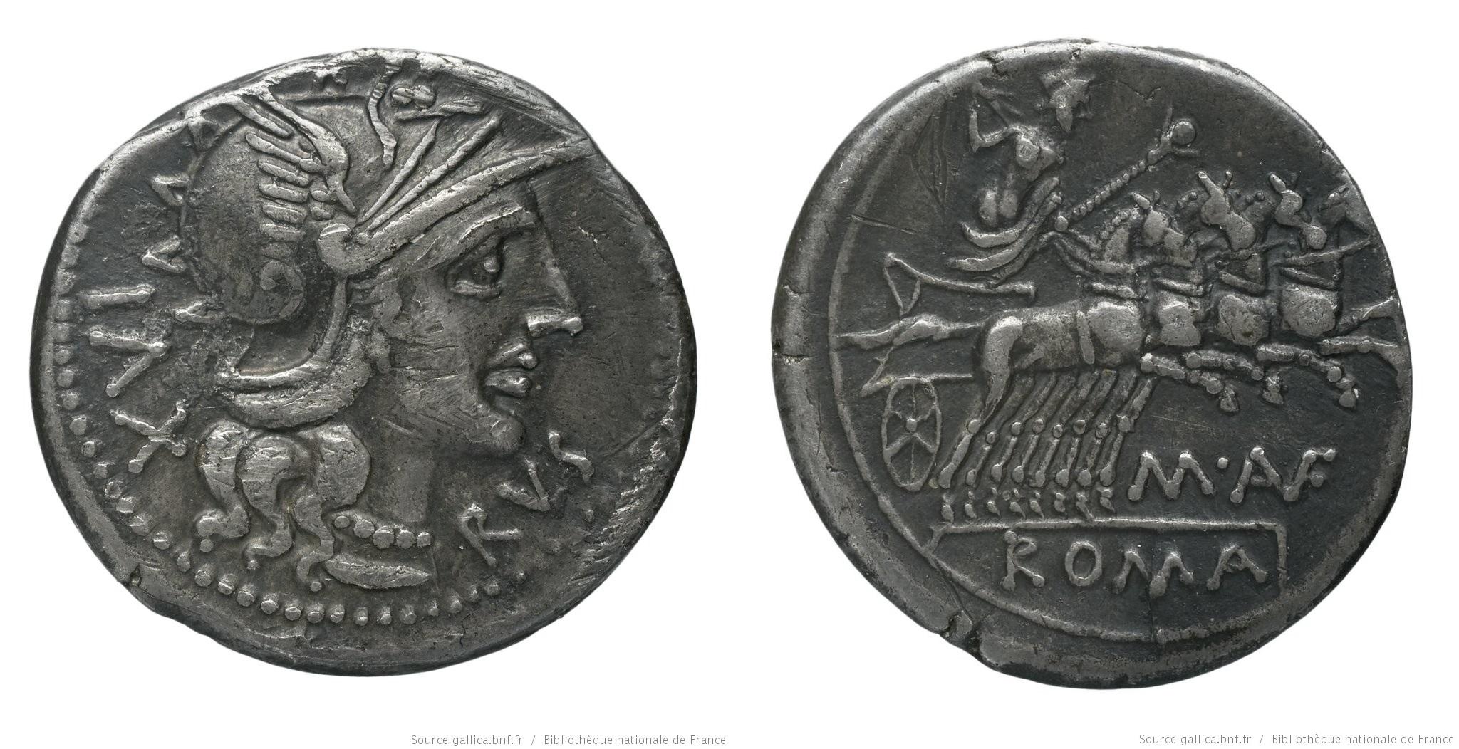 906AU – Denier Aufidia – M. Aufidius Rusticus