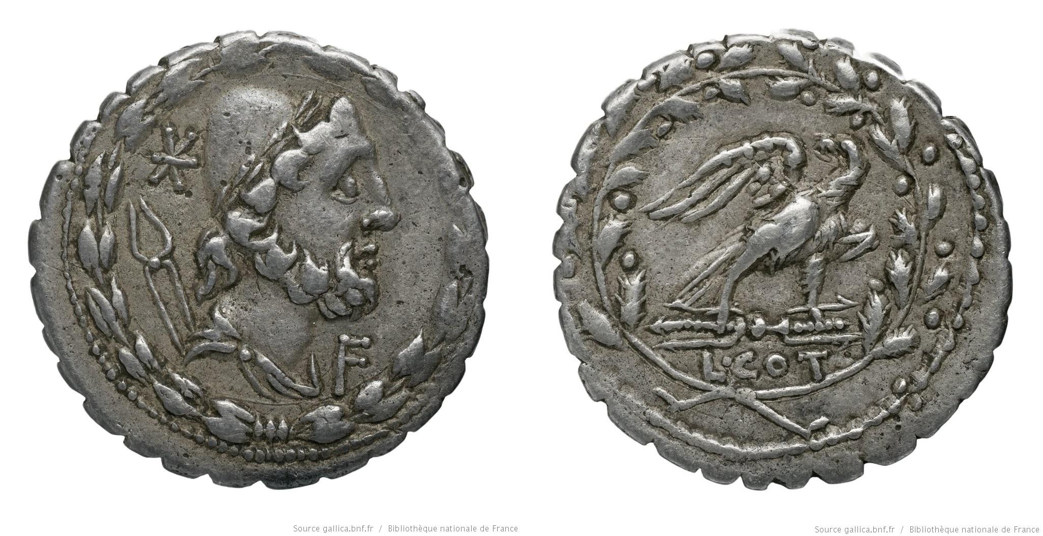 1141AU – Denier Serratus Aurelia – Lucius Aurelius Cotta