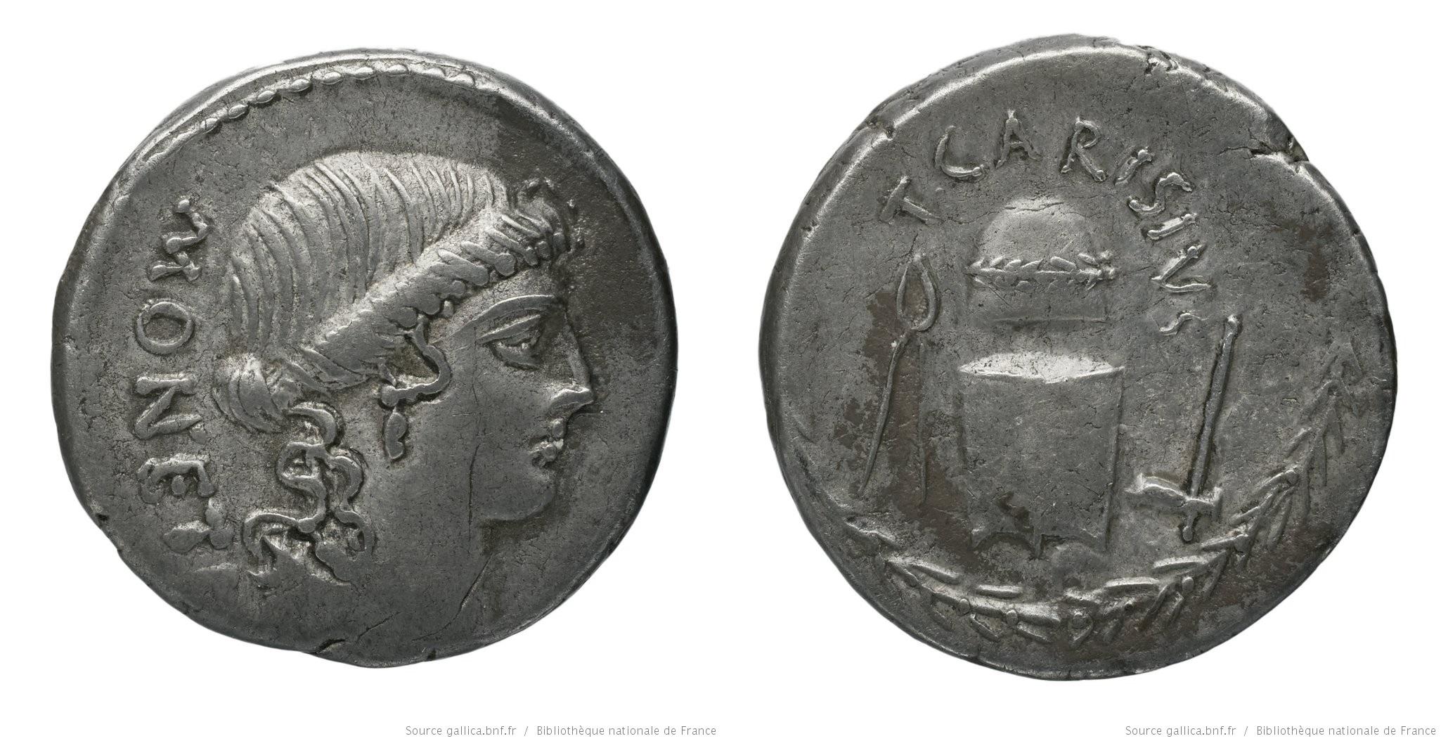 1476CA – Denier Carisia – Titus Carisius
