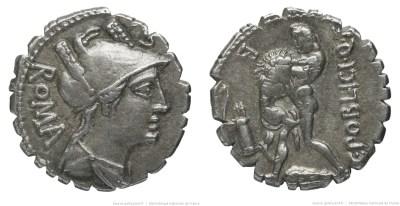 1313PO – Denier Serratus Poblicia – Caius Poblicius