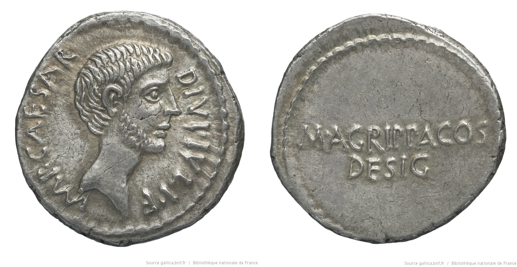 1732JU – Denier Octave et Agrippa –  Marcus Vipsanius Agrippa