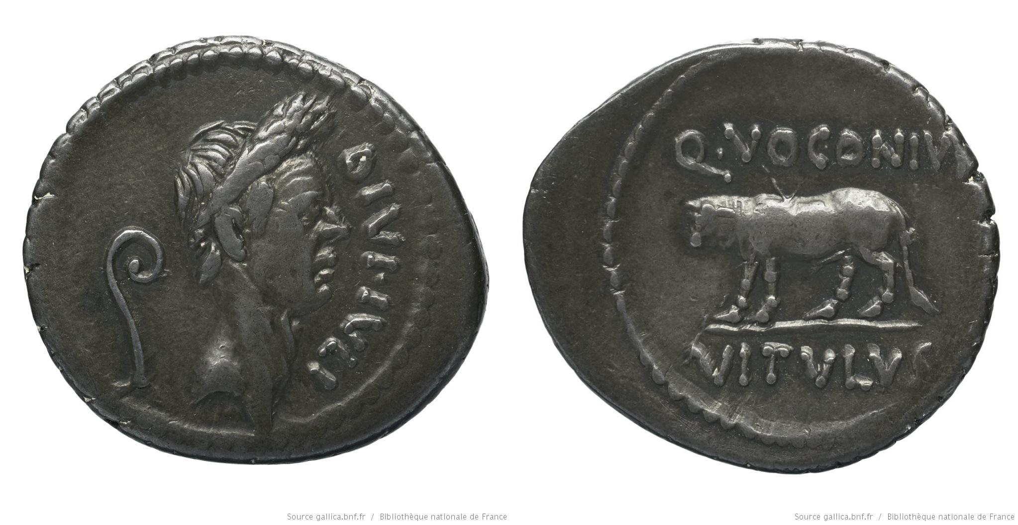 1713JU – Denier César – Quintus Voconius Vitulus