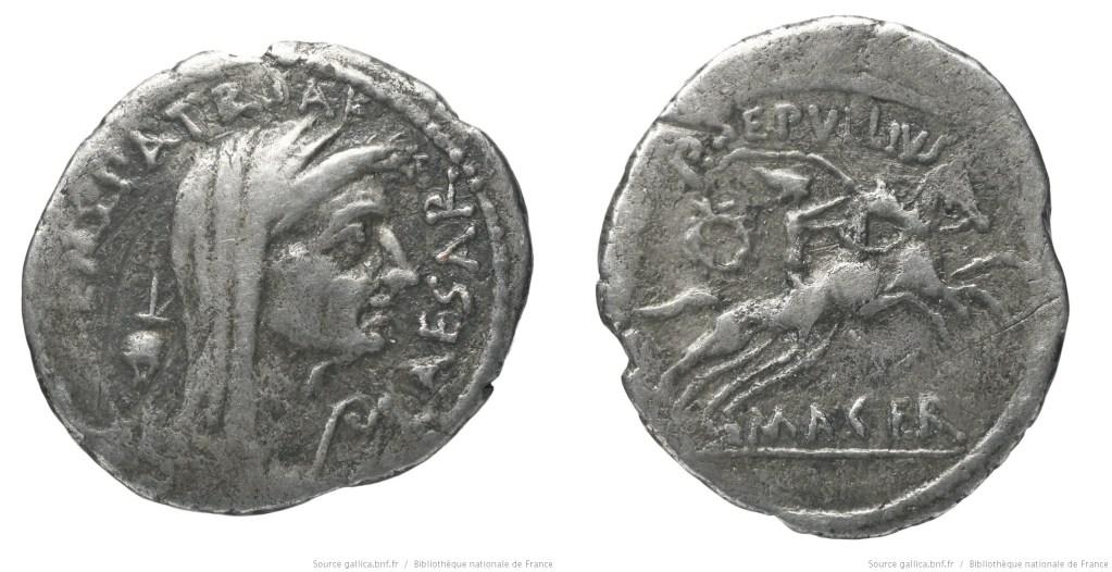 1541JU – Denier César – Publius Sepullius Macer