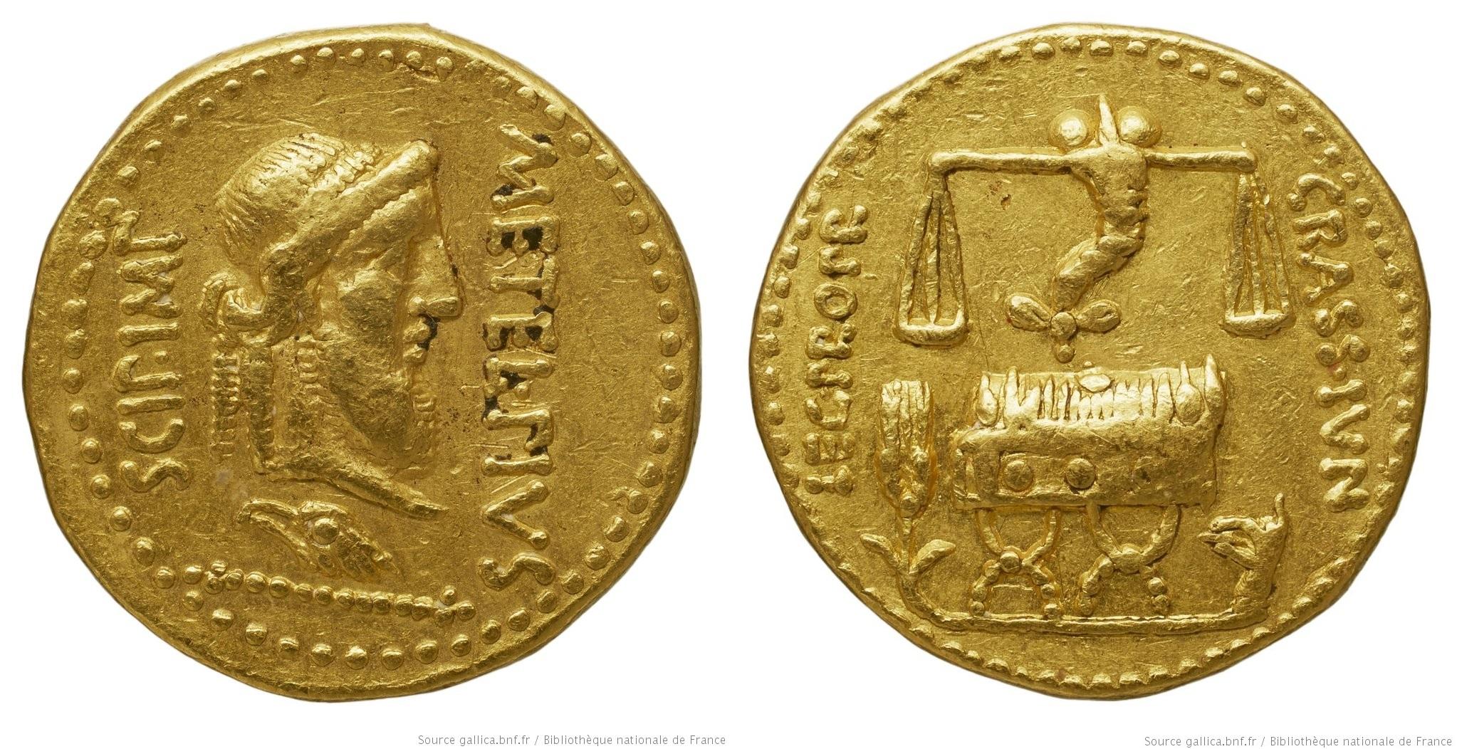 1463CA – Aureus Scipion et Crassus – Q. Cæcilius Metellus Pius Scipio