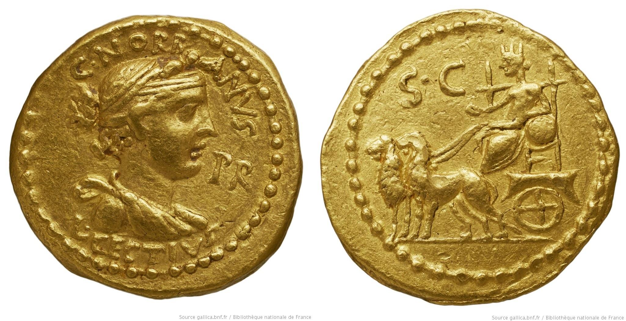 1575CE – Aureus L. Cestius et C. Norbanus
