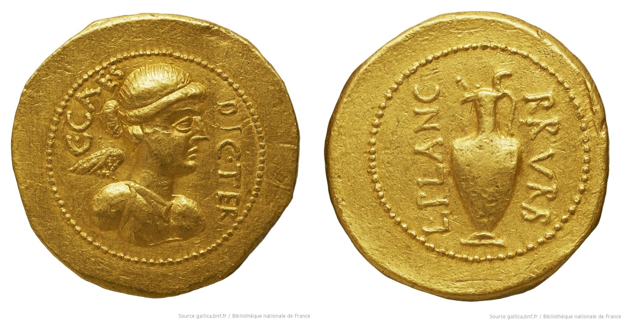 You are currently viewing 1516JU – Aureus César – Lucius Munatius Plancus