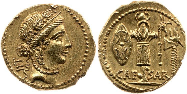 1443JU – Aureus César – Caius Julius Cæsar