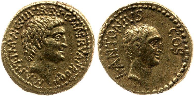 1688AN – Aureus Marc Antoine et Lucius Antoine – Marcus Antonius
