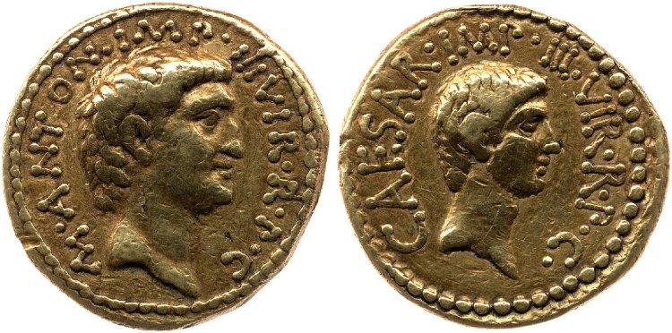 You are currently viewing 1717AN – Aureus Marc Antoine et Octave – Marcus Antonius