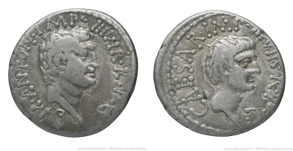 1807AN – Denier Marc Antoine et Octave – Marcus Antonius