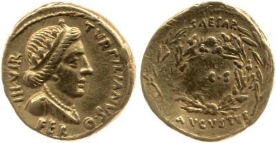 2043AU – Aureus Auguste – P.Petronius Turpilianus