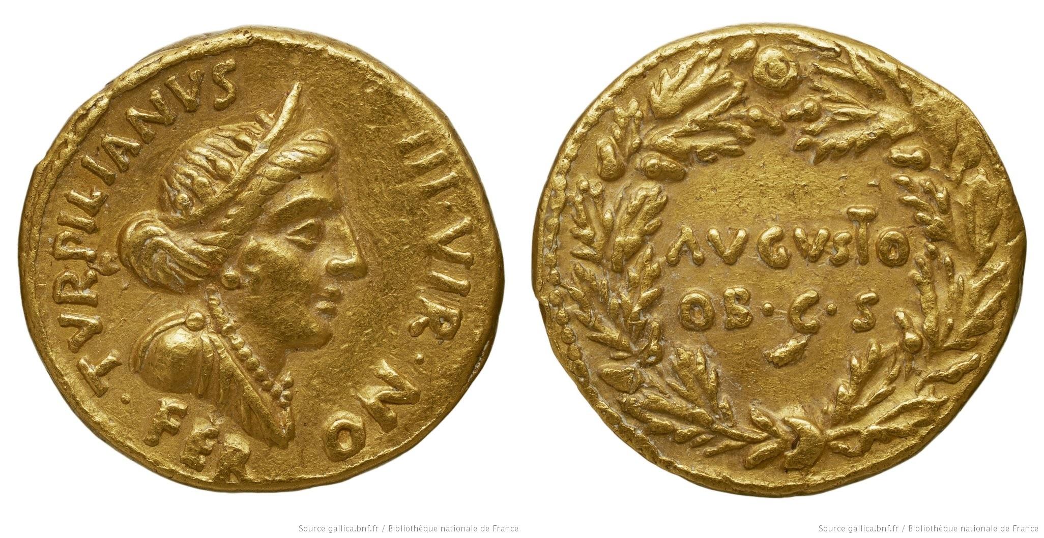 You are currently viewing 2039AU – Aureus Auguste – P.Petronius Turpilianus