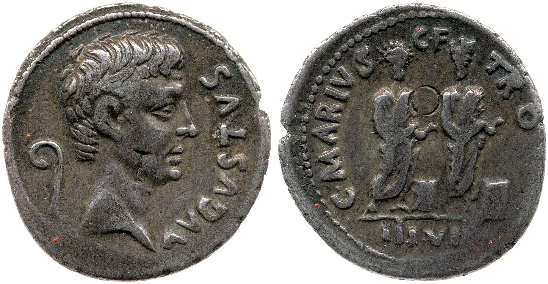 2137AU – Denier Auguste – C. Marius Tromentina