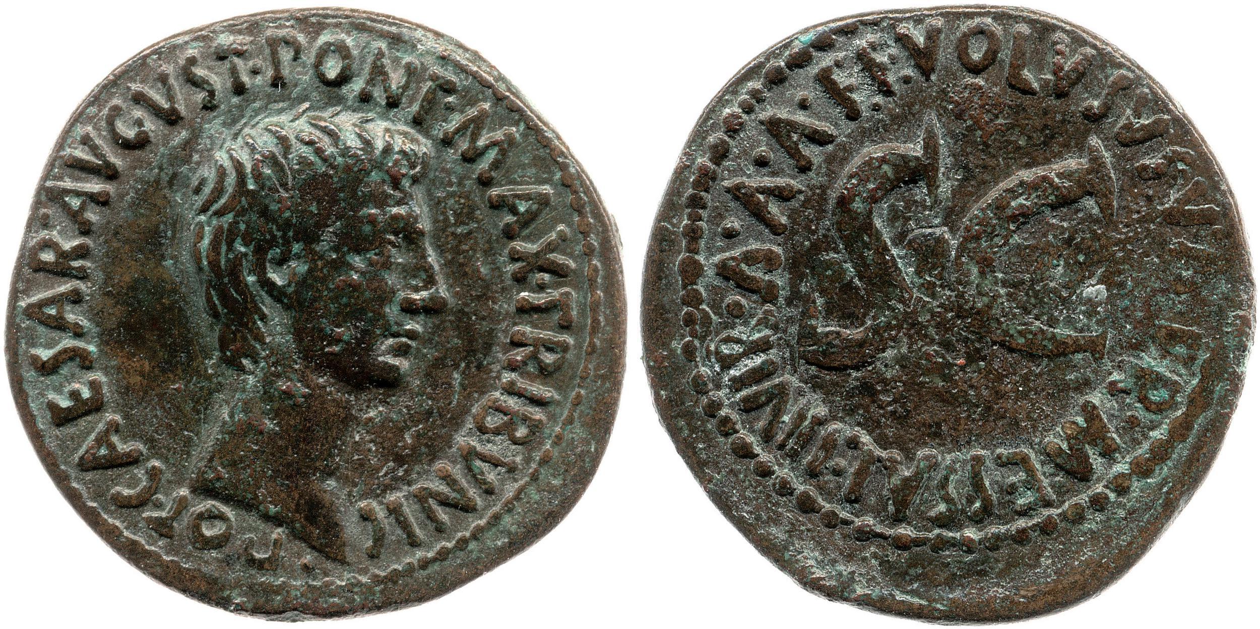 2177AU – As Auguste – Volusus Valerius Messalla