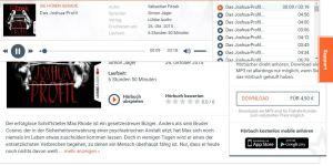Browser-Screenshot: abod - die Übersicht beim Hörbuch-Streaming ist noch verbesserungswürdig
