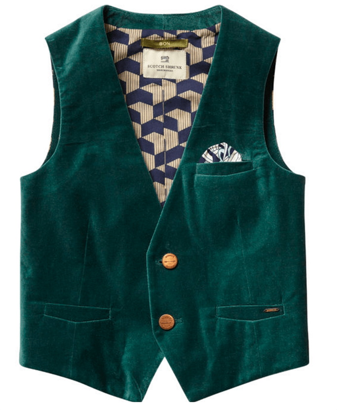 Green Velvet Waistcoat by Scotch and Soda
