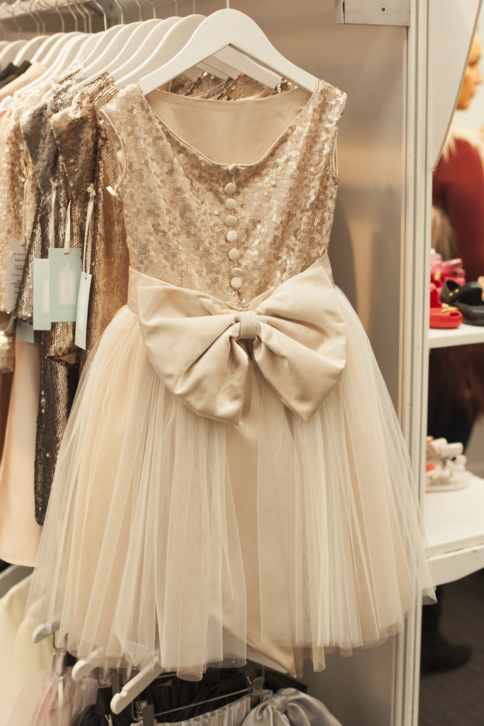 Cream sequin and bow dress