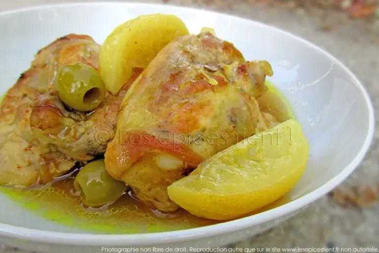 tajine de poulet aux citrons confits et olives