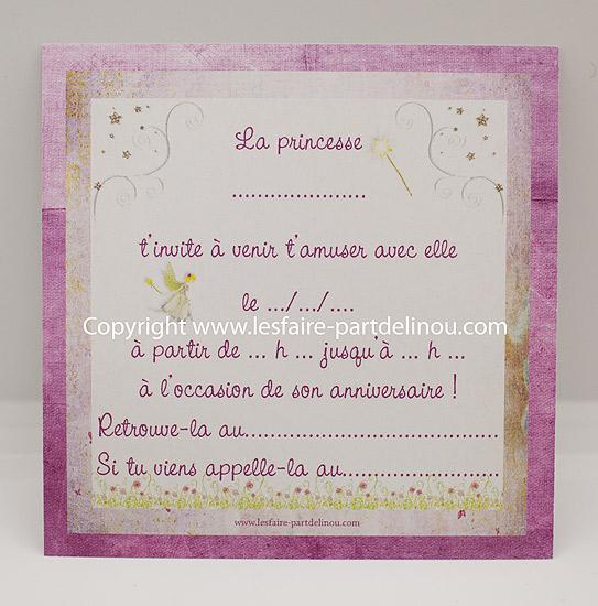 invitation anniversaire sur le theme princesse au format 10 10 cm recto verso