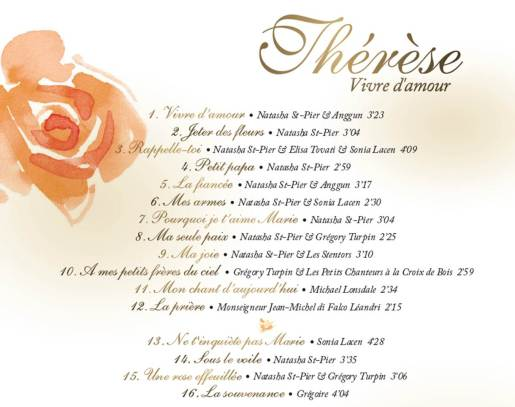 Tracklisting Therese Vivre dAmour