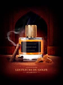 Le parfum des fleurs du Golfe Sugar Oud dans un beau flacon