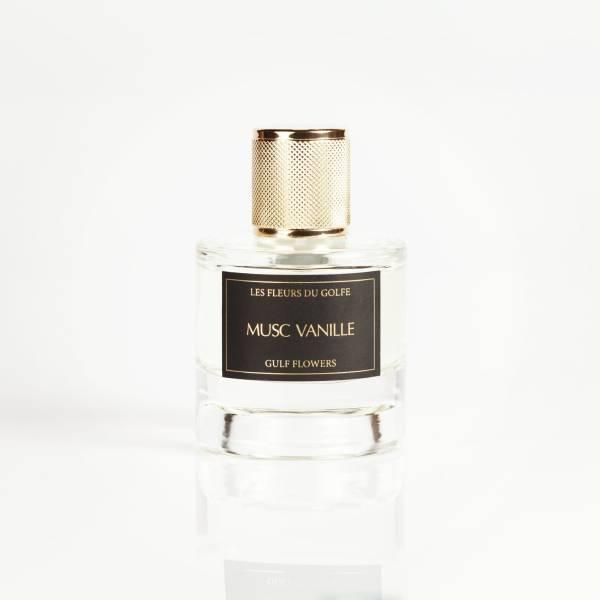 Parfum Musc Vanille des fleurs du golfe sur fond blanc