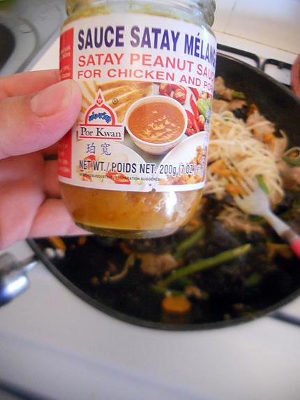 Recette de Wok de nouilles sauce satay