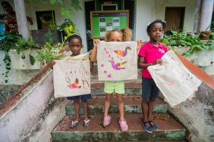 Kids and adults had fun decorating bird tote bags to use instead of plastic bags.