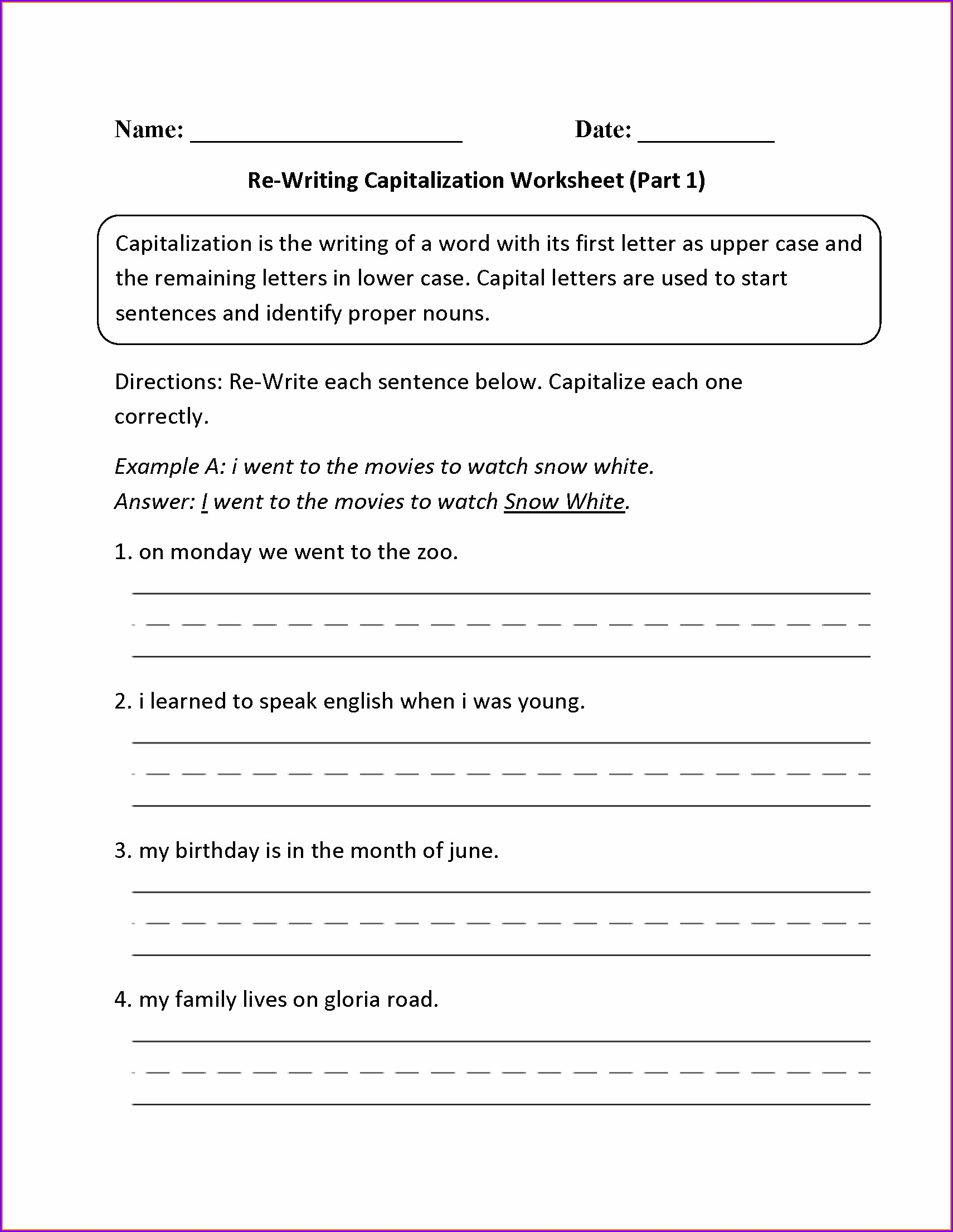 3rd Grade Capitalization And Punctuation Worksheets