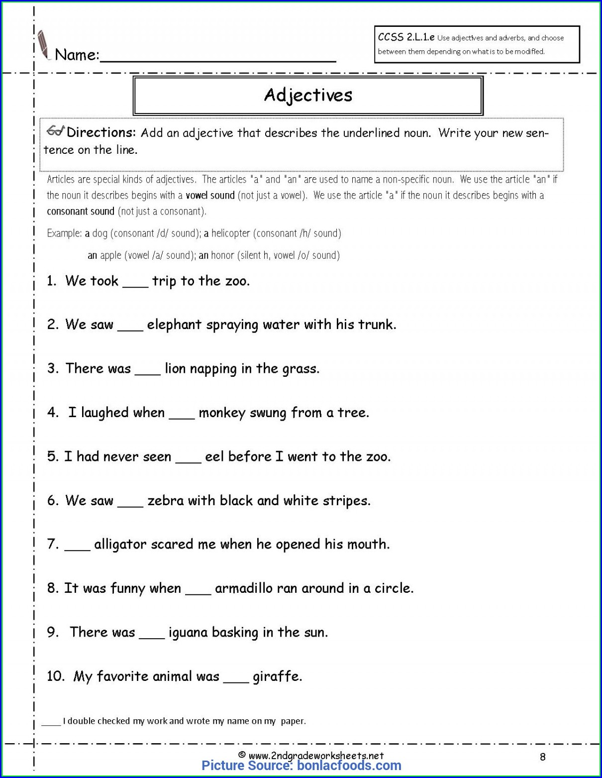 Adjectives Worksheets For Grade 5 With Answers