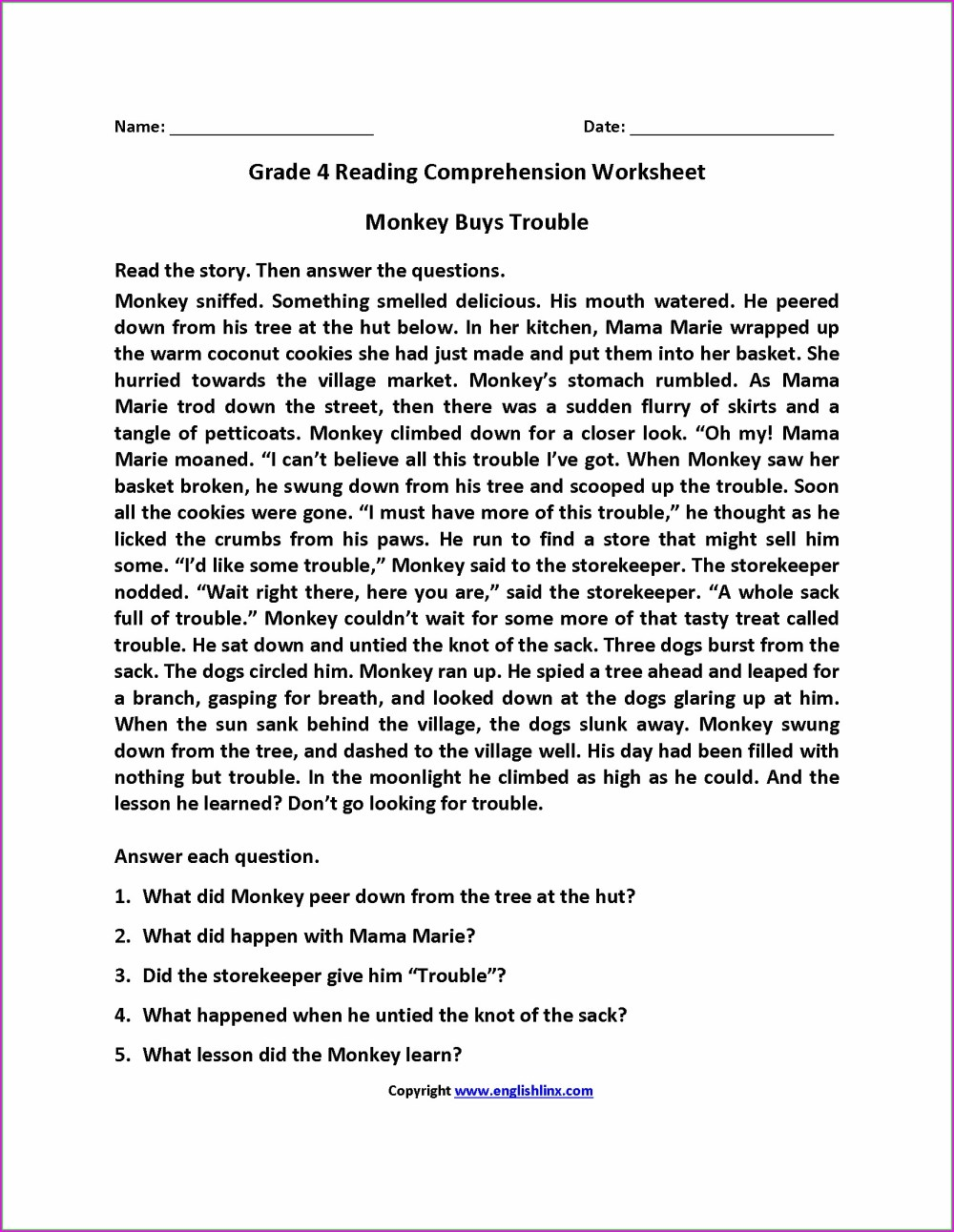 medium resolution of 4th English Worksheets   Printable Worksheets and Activities for Teachers