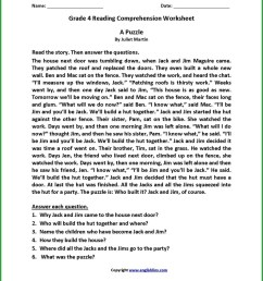 4th Grade Comprehension Worksheets Printable   Printable Worksheets and  Activities for Teachers [ 1335 x 1034 Pixel ]