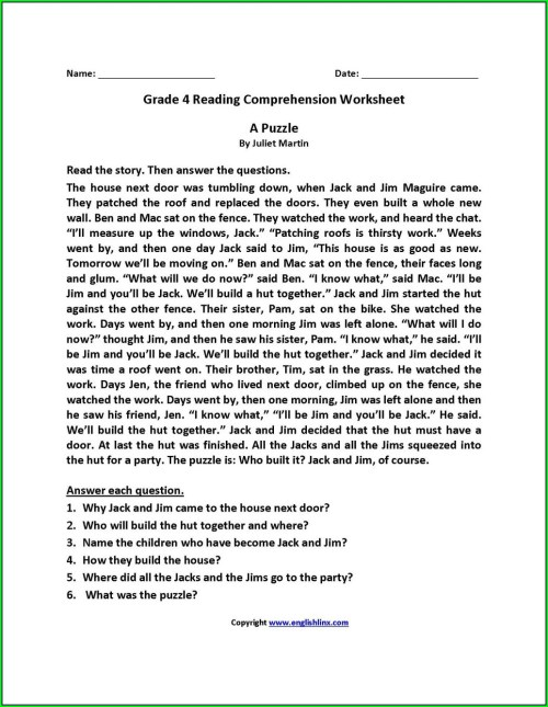 small resolution of 4th Grade Comprehension Worksheets Printable   Printable Worksheets and  Activities for Teachers
