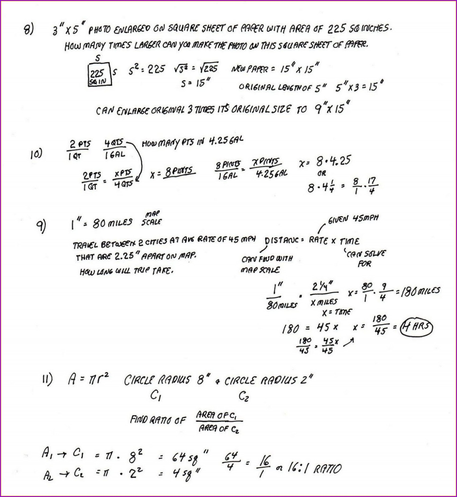 Answer Key 8th Grade Math Worksheets With Answers