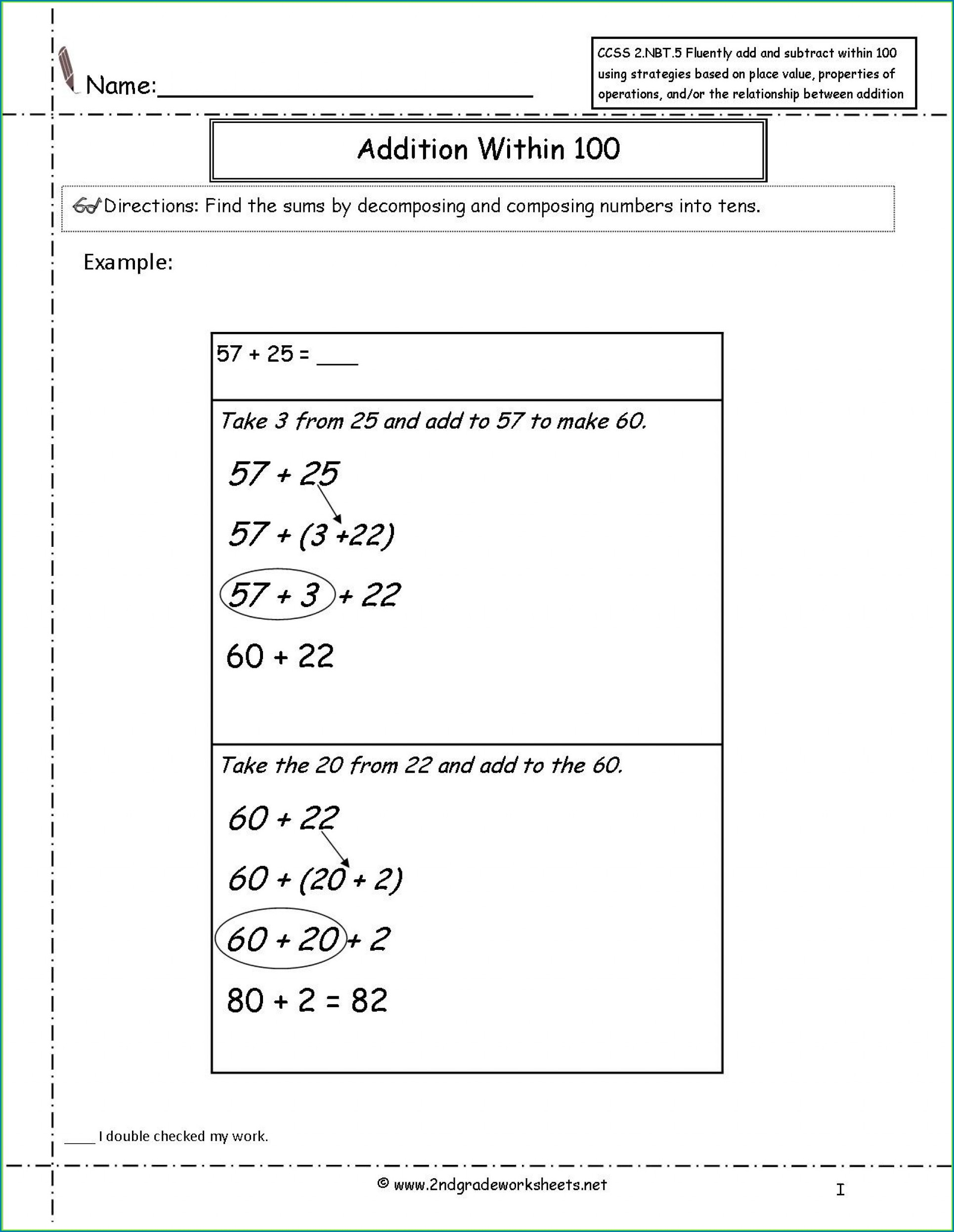 Addition Math Worksheets For 2nd Graders