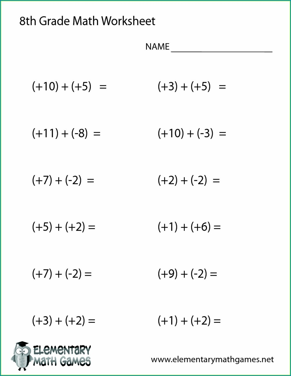 medium resolution of 8th Grade Algebra Readiness Worksheet   Printable Worksheets and Activities  for Teachers