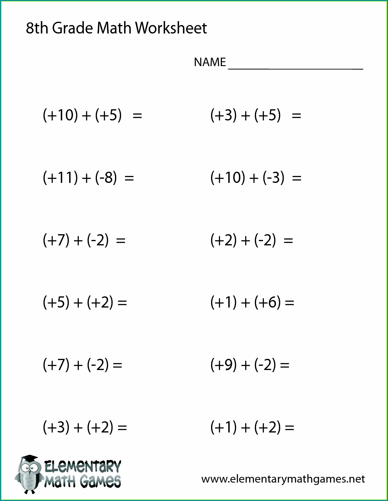 hight resolution of 8th Grade Algebra Readiness Worksheet   Printable Worksheets and Activities  for Teachers