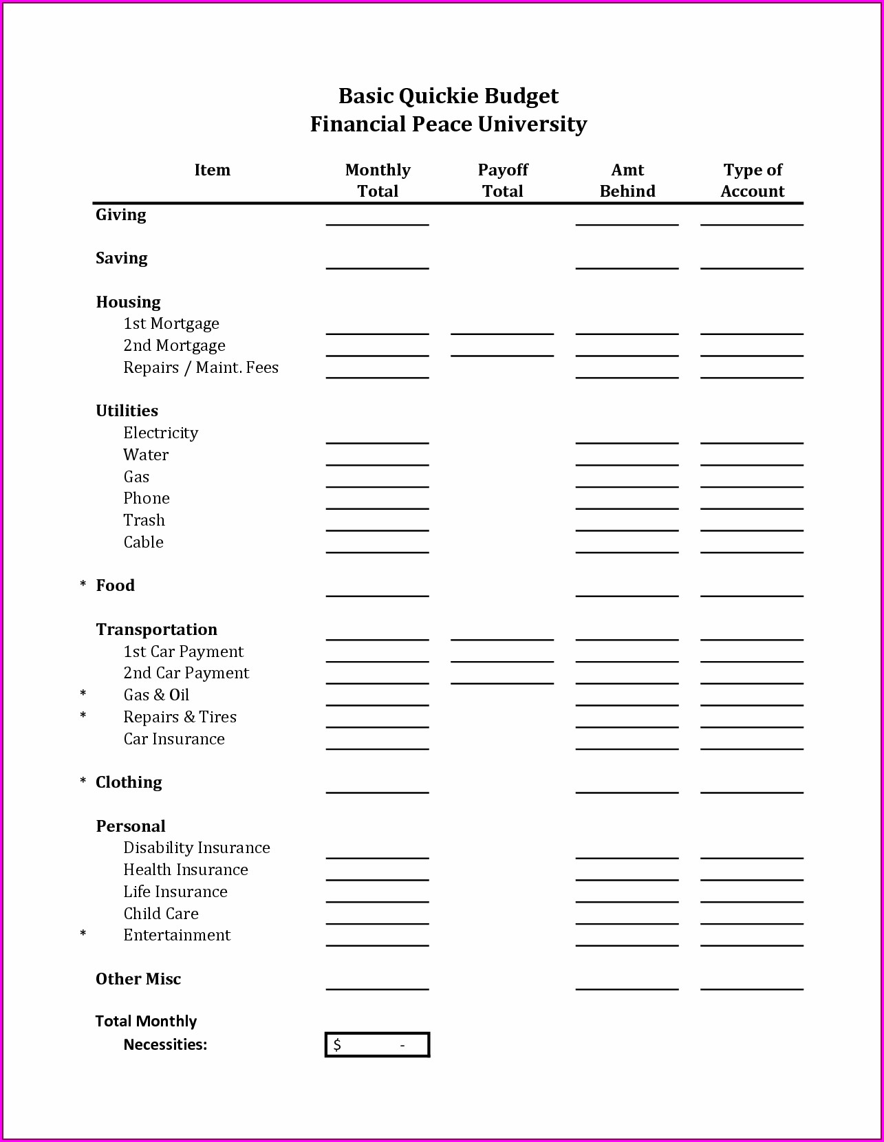 Monthly Budget Worksheet For High School Students