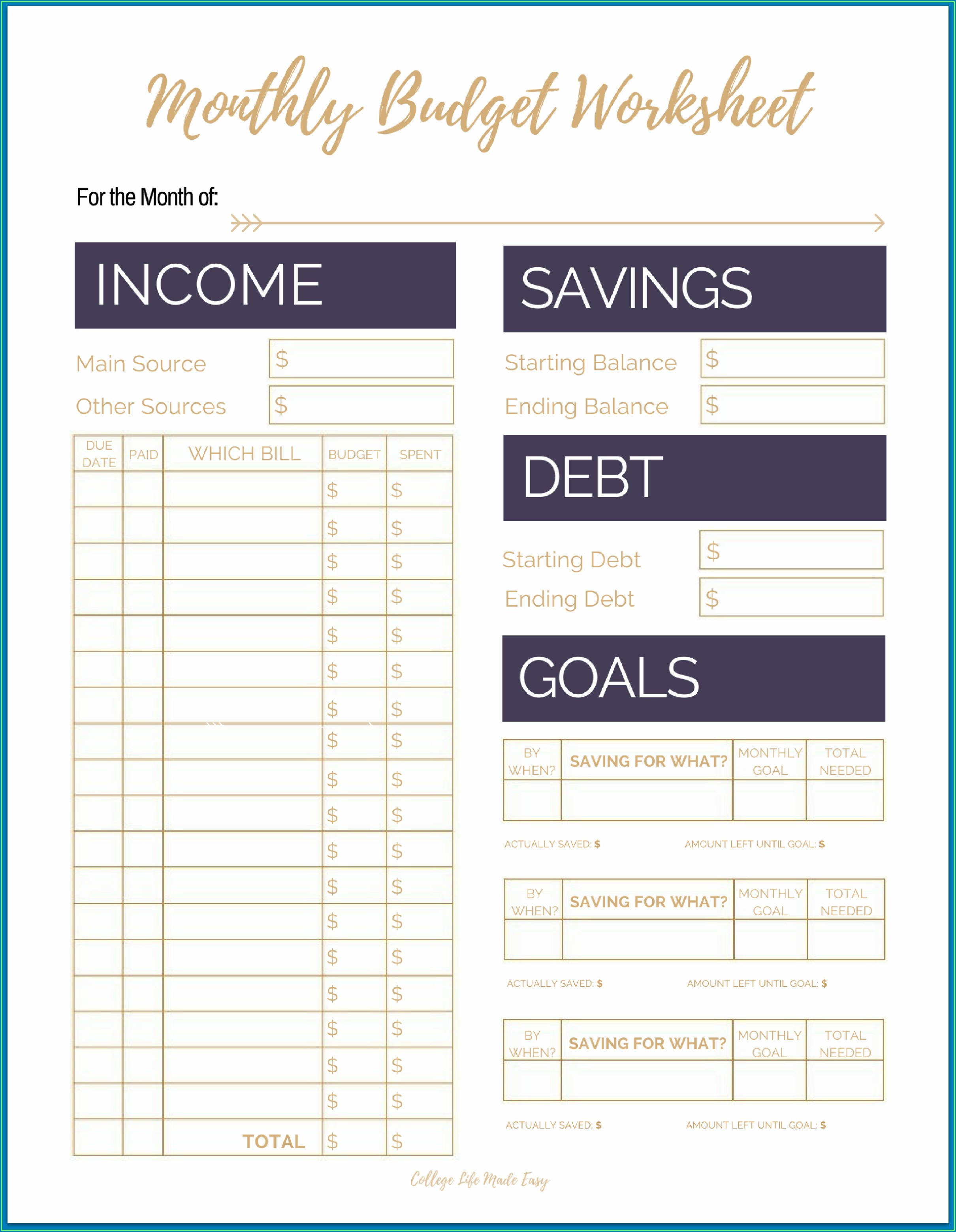 Printable Budget Worksheet For College Students