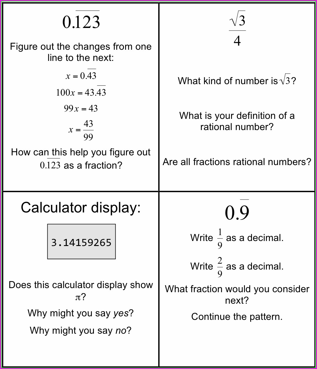 Math Worksheets Irrational Numbers