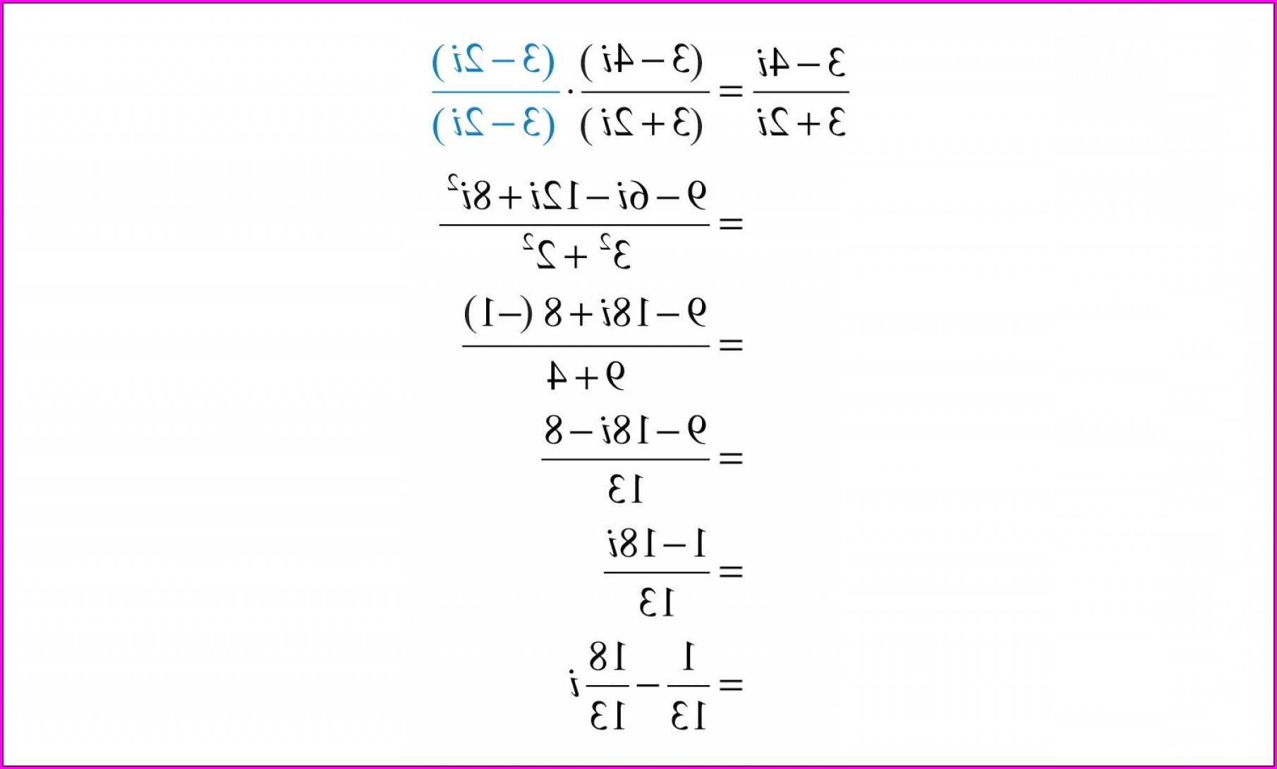 Complex Numbers Worksheet Solutions