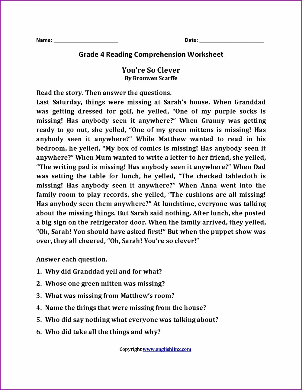 medium resolution of 4 Grade English Worksheet Land   Printable Worksheets and Activities for  Teachers