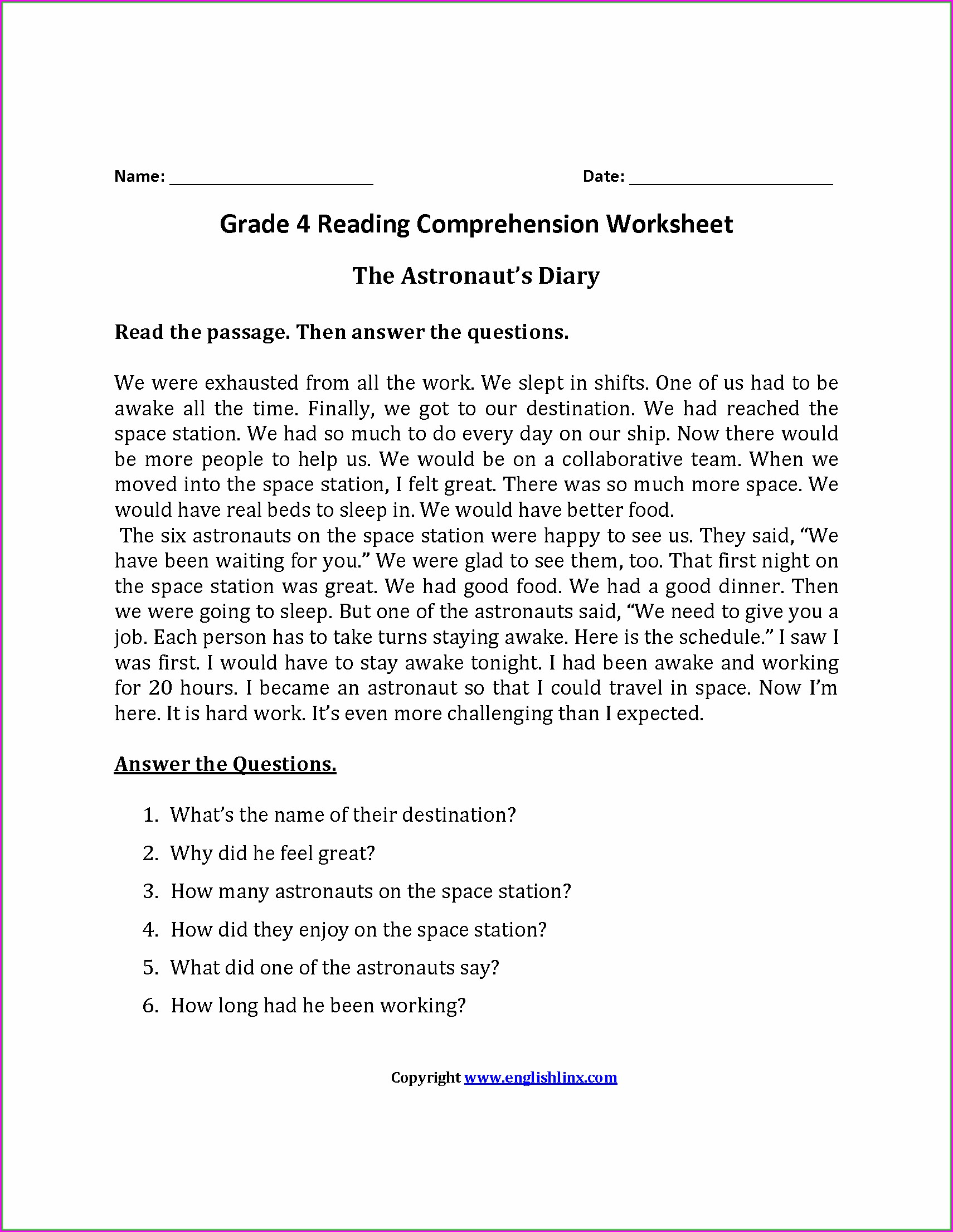hight resolution of Grade 4 Comprehension Worksheets   Printable Worksheets and Activities for  Teachers